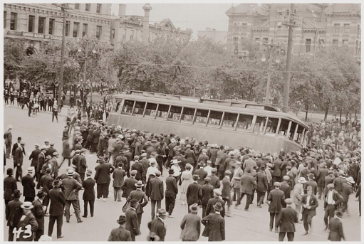 An overturned streetcar in Winnipeg that became a symbol of the general strikes.